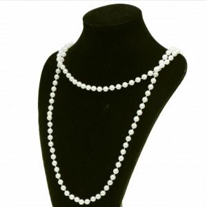 Colier de dama White Pearls din perle albe, acrilice, lung