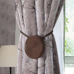 Cordon de strangere pentru draperie sau perdea cu magnet, model Pufo, maro