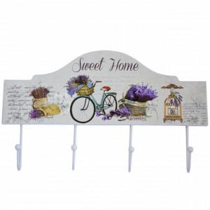 Cuier suport din lemn Pufo Bicycle Lover pentru chei, 34 cm