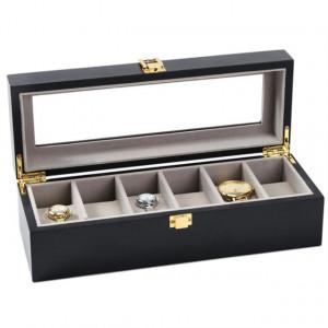Cutie caseta din lemn pentru depozitare si organizare 6 ceasuri, model Pufo Premium, negru