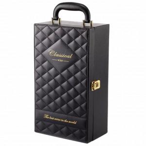 Cutie caseta eleganta cu 2 compartimente pentru sticle de vin, model Premium cu maner si 4 accesorii incluse, negru