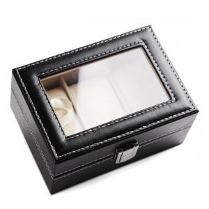 Cutie caseta eleganta depozitare cu compartimente pentru 3 Ceasuri, negru