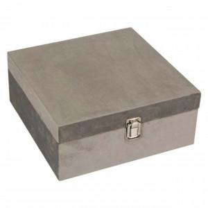 Cutie caseta eleganta Pufo Gray Velvet pentru depozitare bijuterii si accesorii, 16 cm