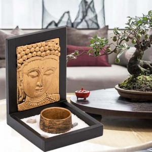 Decoratiune suport Pufo pentru lumanare cu Buddha, 14 x 11 cm