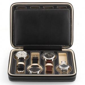 Geanta caseta depozitare si transport pentru 8 ceasuri, negru