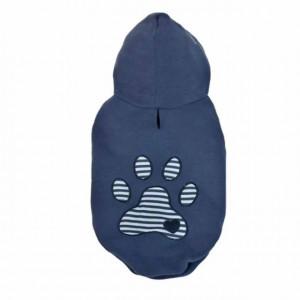 Haina cu gluga Pufo pentru caini, model Blue footprint, 35 cm