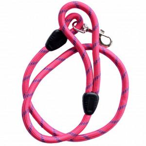 Lesa cordelina Pufo confortabila pentru caini, 115 cm, sistem carabina cu vartej, roz