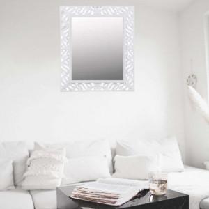 Oglinda decorativa de perete Pufo Gentle 35,5 x 40,5 cm, rama alba