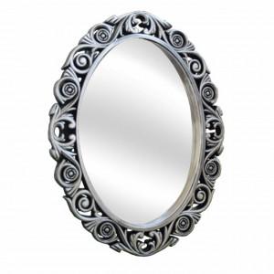 Oglinda decorativa eleganta de perete Pufo Royal, 58 x 45 cm, argintiu