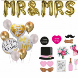 Pachet accesorii nunta si baloane litere aurii Mr si Mrs, Pufo