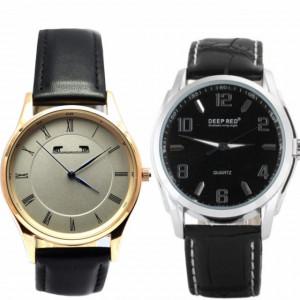 Pachet ceas barbatesc DEEP RED clasic, elegant, negru + Ceas elegant de dama MATTEO FERARI, design italian, mecanism japonez, curea neagra