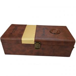 "Pachet cutie cadou tip cufar pentru vin, model Premium cu maner si accesorii incluse, maro + Sonerie receptie amuzanta ""Ring for SEX"""