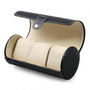 Pachet cutie caseta depozitare si transport pentru 3 ceasuri + ceas barbatesc Dual Time MILER negru