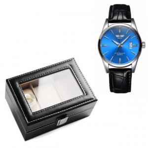 Pachet cutie caseta eleganta depozitare cu compartimente pentru 3 ceasuri + 1 ceas barbatesc elegant SLIM SUITS STYLE albastru