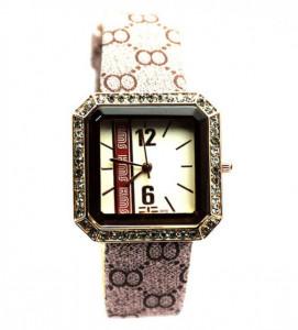 Pachet portofel elegant de dama - maro + ceas dreptunghiular elegant de dama