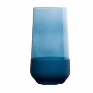 Pahar inalt Pufo Blue pentru apa, suc, racoritoare, din sticla, 470 ml