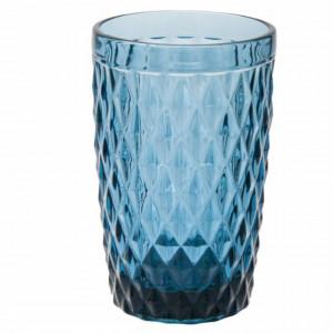 Pahar inalt Pufo Diamond pentru apa, suc, racoritoare, din sticla, 350 ml, albastru