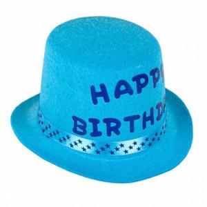 Palarie aniversara pentru baieti Happy birthday, albastru turcoaz, Pufo