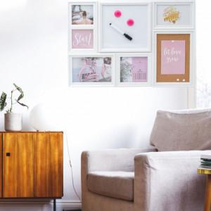 Panou Pufo Pink pentru 5 fotografii si 2 spatii pentru notite, 53 x 38 cm