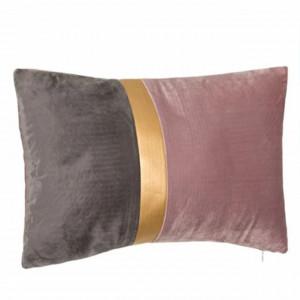Perna decorativa catifelata bicolora Pufo cu fermoar, roz/gri, 30 x 50 cm