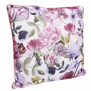 Perna decorativa Pufo, model Colourful Flowers, pentru canapea, pat, fotoliu, 45 x 45 cm