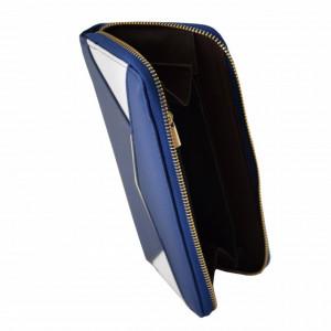 Portofel elegant de dama in doua culori, albastru inchis cu alb