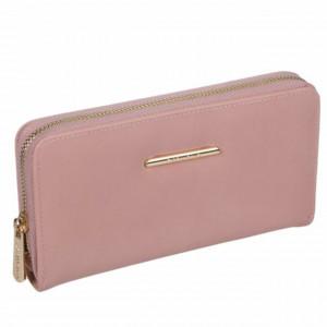Portofel elegant de dama, Pufo Glamour, 20 x 11 cm, roz