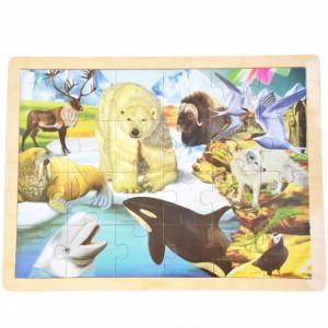 Puzzle Pufo din lemn pentru copii, 24 piese, 40 x 30 cm, model Antarctica