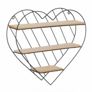 Raft decorativ Pufo Heart din lemn si metal in forma de inima, 33,5 x 32 cm