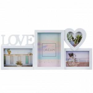 Rama foto decorativa cu 4 poze, model Pufo Love, 44 x 19 cm, alb