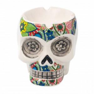 Scrumiera amuzanta Pufo in forma de craniu din ceramica, colorata, 13 cm
