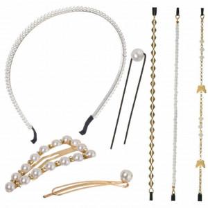 Set 16 accesorii pentru par cu margele albe, Pufo