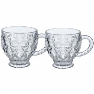 Set 2 cesti cafea din sticla, Pufo Elegance, 190 ml, transparent