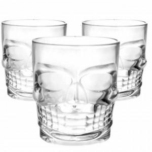 Set 3 pahare din sticla, forma de craniu, 270 ml, Pufo