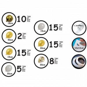 Set 70 baloane de diferite dimensiuni pentru petrecere, aranjament tip arcada, auriu/alb, Pufo