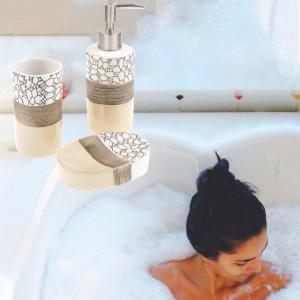 Set ceramica 3 piese pentru baie cu linii Mosaic print, Pufo