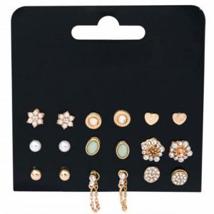 Set de 9 perechi de cercei eleganti in forma de bobite, aurii