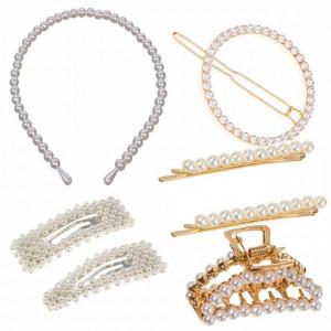 Set elegant de accesorii pentru par, cordeluta si agrafe cu margele albe, Pufo