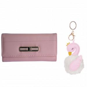 Set Portofel elegant de dama si Breloc pufos pentru chei sau decor geanta, in forma de lebada, 10 cm, roz, Pufo