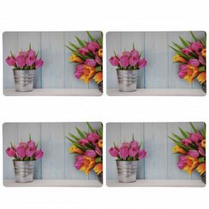 Set suport farfurie pentru servirea mesei, model Tulips, 4 bucati, 43 x 28 cm