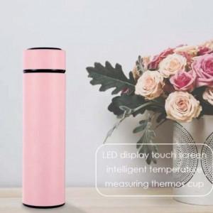 Sticla termos LED cu indicator de temperatura, inox, 500 ml, roz