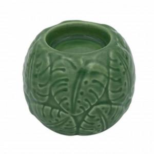 Suport decorativ din portelan pentru lumanare Pufo, 7 cm, verde