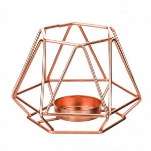 Suport decorativ metalic pentru lumanare Pufo Bronze cu agatatoare, 11 cm