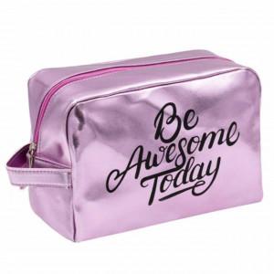 Trusa portfard pentru depozitare cosmetice Pufo Be Awesome, 25 cm, roz