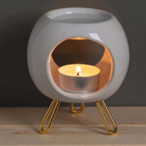 Vas ceramic Pufo pentru aromaterapie, lumanari, uleiuri, alb