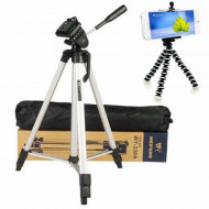 Pachet Trepied foto telescopic Weifeng WF-330A universal 51-134 cm + Trepied flexibil cu suport pentru telefon mobil sau aparat foto, Pufo