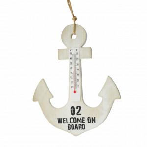 Ancora decorativa din lemn Welcome on board cu termometru, Pufo, 23 cm