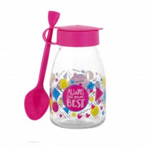 Borcan cu lingurita si capac Pufo Pinky pentru depozitare, servirea mesei la copii, etc, 500 ml