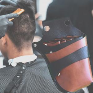 Borseta pentru ustensile frizerie, stilist, coafor, cosmetica, maro cu negru