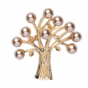 Brosa dama eleganta Copacul vietii, cu margele, aurie